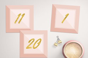 Blush Pink & Gold Table Numbers Card