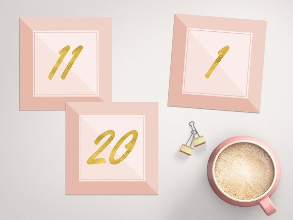 Blush Pink Gold Table Numbers Card