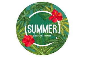 Summer background with tropical leaves and flower vector
