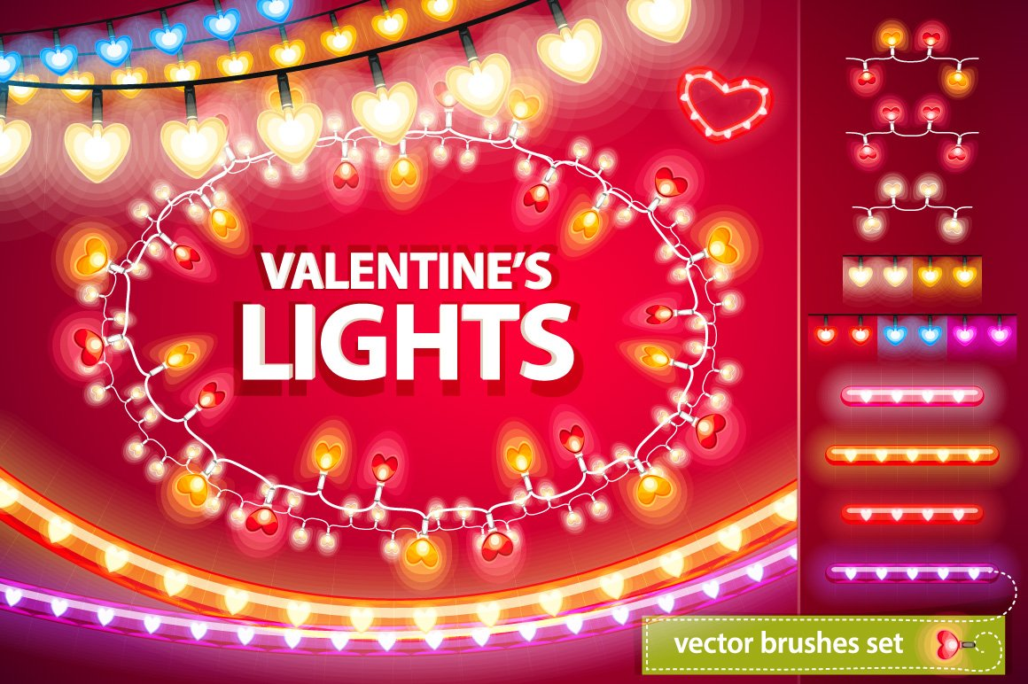 valentines lights decorations set illustrations creative market