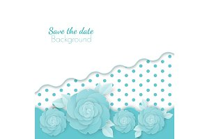 Save the date flowers background with dots, paper origami blossoms