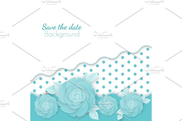 Save The Date Flowers Background With Dots Paper Origami Blossoms
