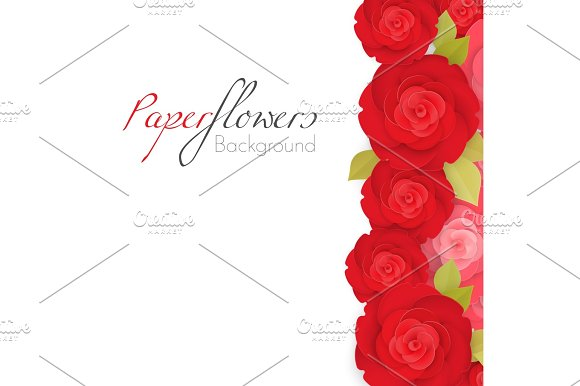Paper Flower Background With Red Roses With Green Leaves I