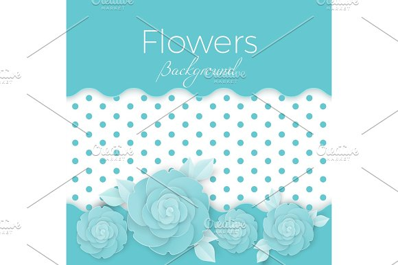 Flowers Background With Dotted Center Paper Origami Blossoms