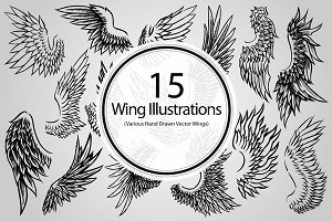 15 Wing Illustrations (Vector)