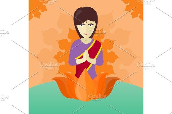 Indian Woman Isolated On Round Ornate Mandala