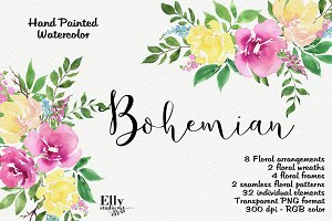 Watercolor Flower Clipart - Bohemian