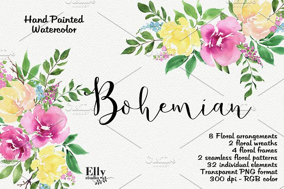 Watercolor Flower Clipart Bohemian