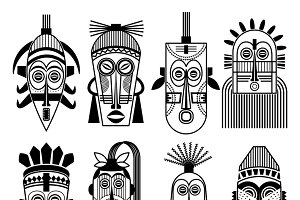 Ethnic masks or tribal masks icons