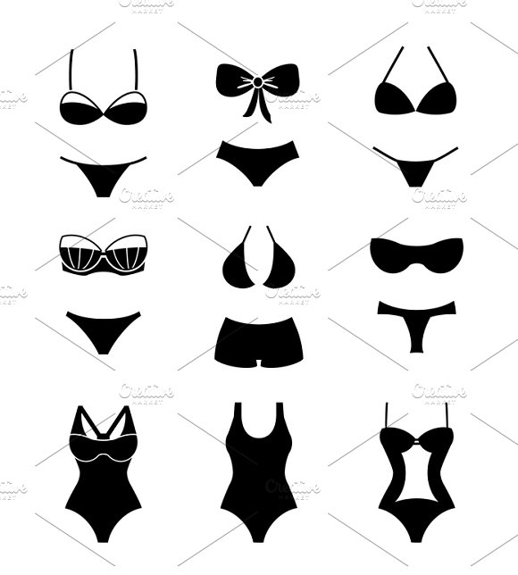 Female Swimwears Icons