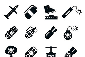 Black and white bombs pictograms
