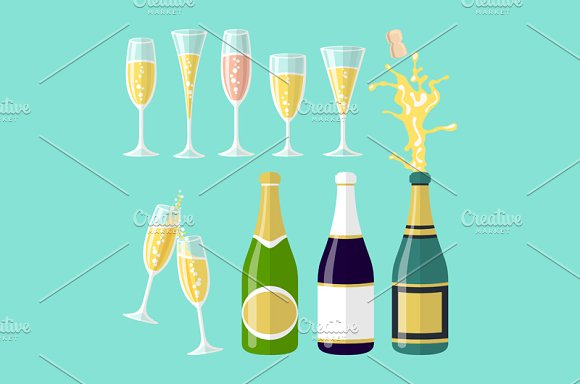 Vector Of Several Champagne Flat
