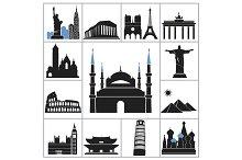 Landmark travel icons