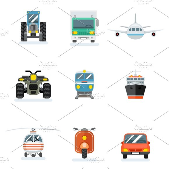 Vector Transport Flat Icons