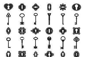 Keyhole key icons