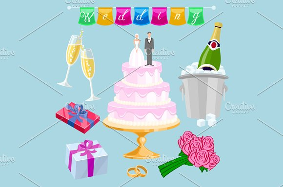 Set Wedding Cake With Couple Objects