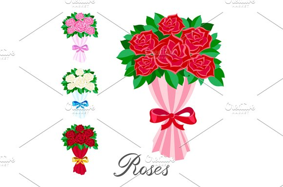 Bouquet Rose Red Pink White