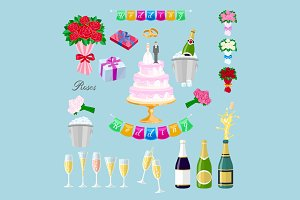 set wedding object vector Newlyweds