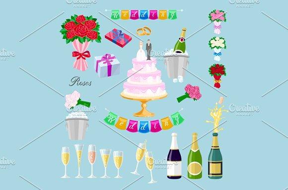 Set Wedding Object Vector Newlyweds