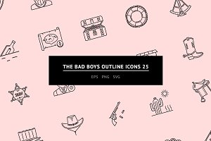 The Bad Boys Outline Icons 25