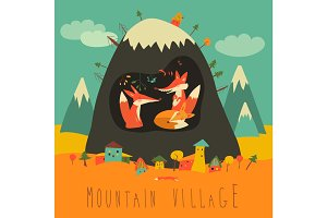 Cute village by the mountain with foxes inside the cave