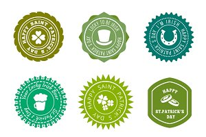 Saint Patricks Day badges set