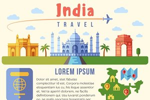 India vector traveling infographics