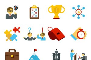 Mentoring and training flat icons