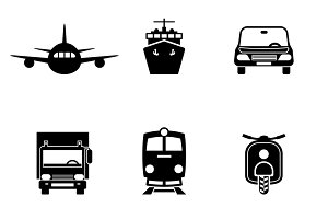 Vehicle transport vector signs set