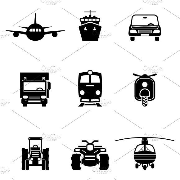 Vehicle Transport Vector Signs Set
