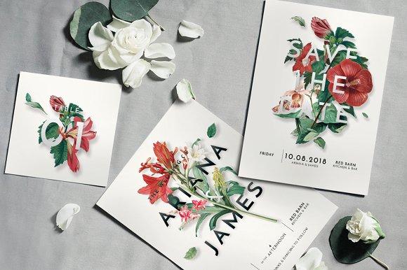 modern vintage floral wedding suite invitation templates