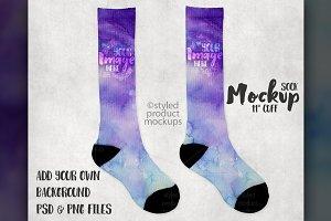 11 inch white cuff sock mockup