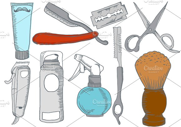 Hand Drawn Barber Shop Elements