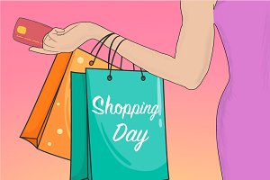 Hand Drawn Happy Shopping Day!