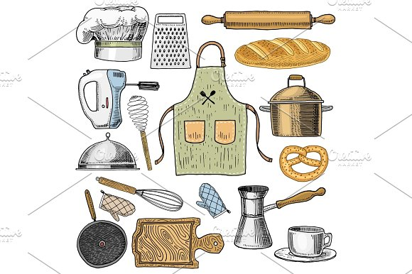 Apron Or Pinaphora And Hood Rolling Pin And Saucepan Or Corolla Wooden Board Chef And Dirty Kitchen Utensils Cooking Stuff For Menu Decoration Engraved Hand Drawn In Old Sketch And Vintage Style