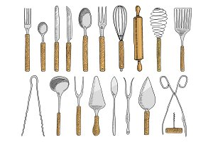 dining or snack fork for oysters, ice cream spoon and knife for dessert or butter and baking. kitchen utensils, cooking stuff for menu decoration. engraved hand drawn in old sketch and vintage style.