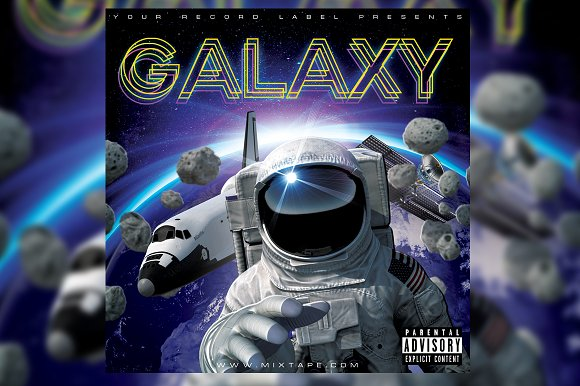 Galaxy Space CD Cover Template in Templates