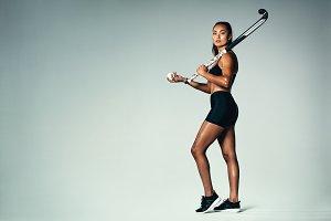 Female hockey player