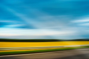 Diagonal highway vivid summer landscape motion ray abstraction