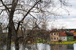 Vertical dramatic house tree bokeh background backdrop