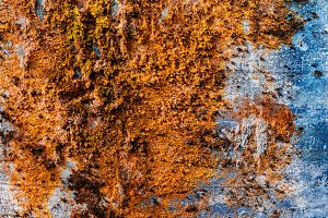 Horizontal vintage orange moss rusty concrete wall texture backd