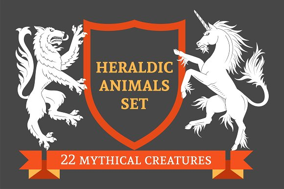 Set Of Heraldic Animals