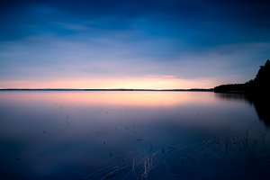 Sunset at nothern lake