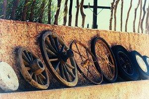 Horizontal vintage history of wheels film scan background backdr