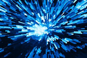 Horizontal vivid blue cube pixel explosion business background a