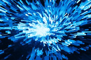 Horizontal vivid blue cube pixel explosion twirl business backgr