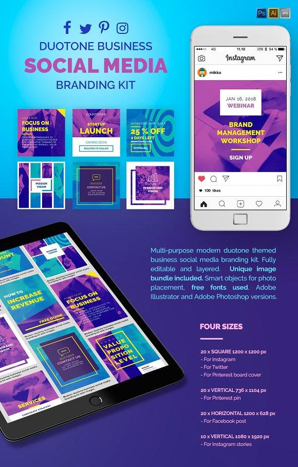 Duotone Business Social Media Pack