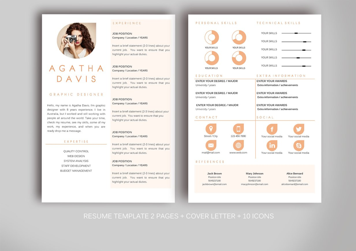 resume template for ms word resume templates creative market - Microsoft Resume Templates