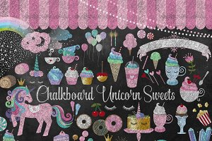 Chalkboard Unicorn Sweets Clipart