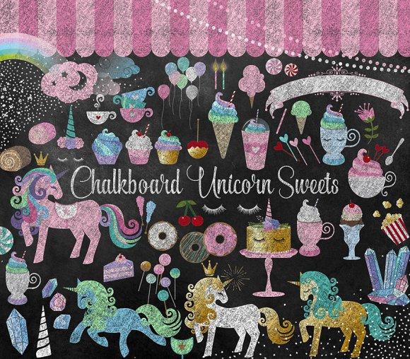 Chalkboard Unicorn Sweets Clipart